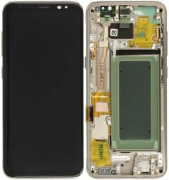 Genuine Samsung S8 (SM-G950) Complete Gold LCD and touchpad with frame - Part no: GH97-20457F