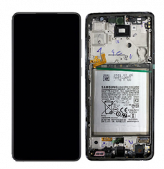 Genuine Samsung Galaxy A72 4G (A725F) Complete lcd display with frame and battery in Awesome Black - Part no: GH82-25542A