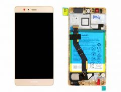 Official Huawei P9 Plus Gold LCD Screen & Digitizer with Battery - 02350SUW