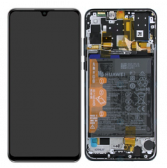 Genuine Huawei P30 Lite New Edition 2020 Display module front cover, LCD, digitizer and battery in Black - 02353fpx