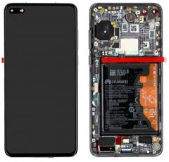 Genuine Huawei P40 Complete lcd and touchpad with frame and fingerprint in Black - Part no: 02353MFA