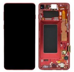 Genuine Samsung Galaxy S10 (G973) Complete lcd and touchpad with frame in Cardinal Red - Part no:GH82-18850H
