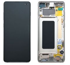 Genuine Samsung Galaxy S10 Plus (G975F) Ceramic White  Complete lcd with frame in - Part no:GH82-18849J