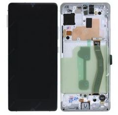 Genuine Samsung S10 Lite (SM-G770F) White Complete lcd and touchpad with frame - Part no: GH82-21672B