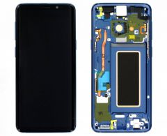 Genuine Samsung S9 (G960F) Polaris Blue Complete lcd with frame assembly unit - Part no: GH97-21696G