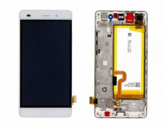 Official Huawei P8 Lite ALE-L21 White LCD Screen & Digitizer with Battery - 02350KCD