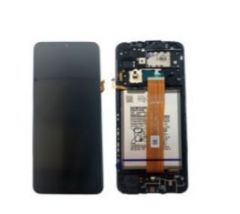 Genuine Samsung Galaxy A12 (SM-A125F) Complete black lcd with touchpad and frame - Part No: GH82-24491A
